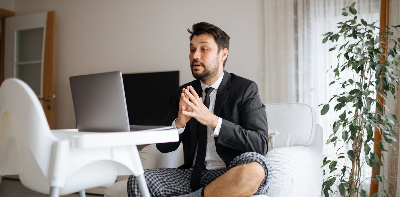 video interviewing man with no pants